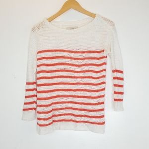 LOFT White Coral Striped Sweater Long Sleeve Top